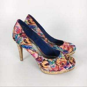 Fioni Multicolor Abstract Floral Rainbow Heels 7.5